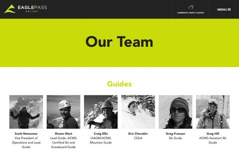 Screenshot of Team Page eaglepassheliskiing.com - Our Team | Our Story | Eagle Pass - captured Sept. 30, 2014
