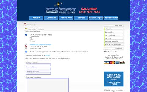 Screenshot of Contact Page starbrightpoolcare.com - Star Bright Pool Care - Contact - captured Oct. 7, 2014