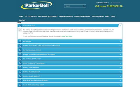 Screenshot of FAQ Page parker-bell.co.uk - FAQ - Parker Bell | PAT Testing Machines, Accessories & Training - captured Sept. 26, 2018