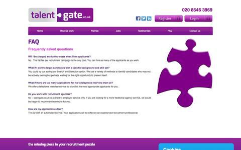 Screenshot of FAQ Page talentgate.co.uk - Faq » Home - captured Oct. 9, 2014