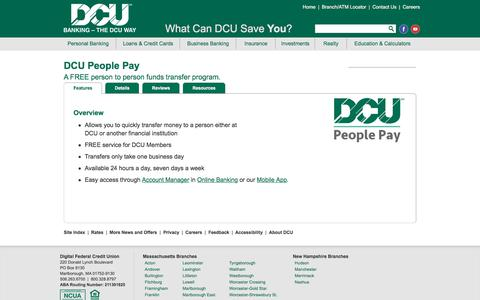 People Pay Funds Transfer Service | DCU | MA | NH