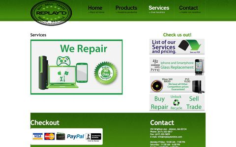 Screenshot of Services Page replaydonline.com - REPLAY'D - captured Oct. 7, 2014