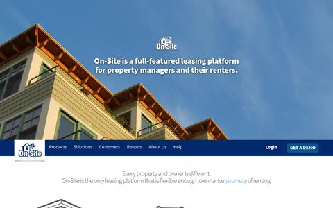 Screenshot of Home Page on-site.com - Property management software for screening, leasing & marketing. | On-Site - A flexible online leasing platform for property managers and their renters. - captured Sept. 19, 2014
