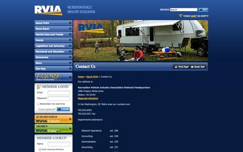Screenshot of Contact Page rvia.org - The Recreation Vehicle Industry Association: Contact Us - captured Sept. 23, 2014