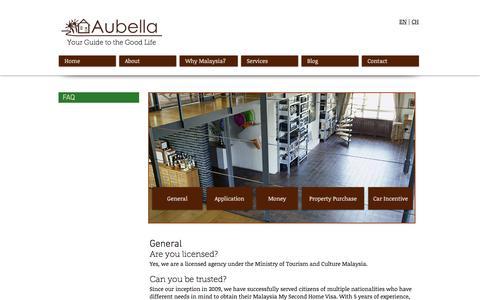 Screenshot of FAQ Page aubella.com - Aubella   Malaysia My Second Home Agent   FAQ - captured Nov. 21, 2016