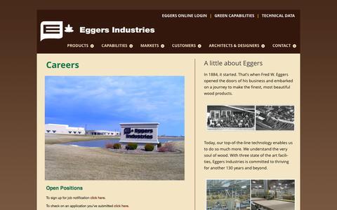 Screenshot of Jobs Page eggersindustries.com - Careers - Eggers Industries - captured Dec. 7, 2015