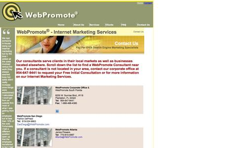 Screenshot of Contact Page webpromote.com - Contact WebPromote Internet Marketing Consultants - PPC Consulting - Pay Per Click - captured Oct. 7, 2014