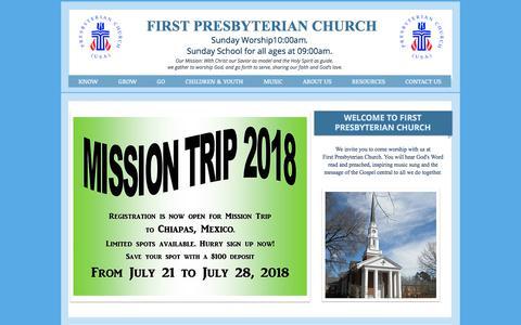 Screenshot of Home Page fpcgoldsboro.org - First Presbyterian Church of Goldsboro - captured July 2, 2018