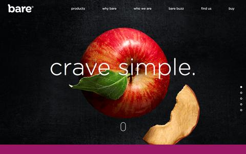 Screenshot of Home Page baresnacks.com - Fruit Chips | Fruit Snacks | Bare Snacks - captured Sept. 6, 2016