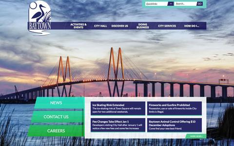 Screenshot of Home Page baytown.org - Baytown, TX : Home - captured Jan. 7, 2016