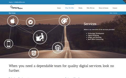 Screenshot of Services Page maditbox.com - Digital Marketing and Back Office Outsourcing - MADITbox - captured Dec. 17, 2015