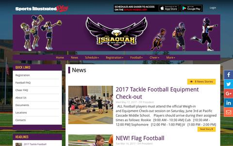 Screenshot of Press Page issyfootball.org - League Sponsors - captured Oct. 15, 2017