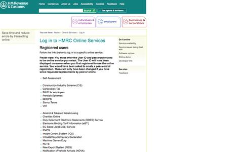 Screenshot of Login Page hmrc.gov.uk - HM Revenue & Customs: Log in to HMRC Online Services - captured Sept. 19, 2014