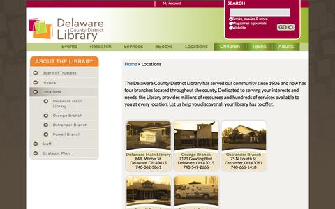 Screenshot of Locations Page delawarelibrary.org - Locations | Delaware County District Library - captured Sept. 23, 2018