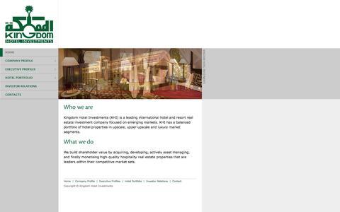 Screenshot of Home Page kingdomhotels.com - Kingdom Hotel Investments - KHI - captured Oct. 1, 2014