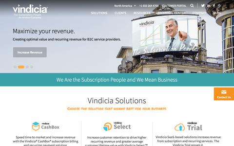 Screenshot of Home Page vindicia.com - Subscription Billing and Recurring Payment Solutions | Vindicia - captured Oct. 4, 2018