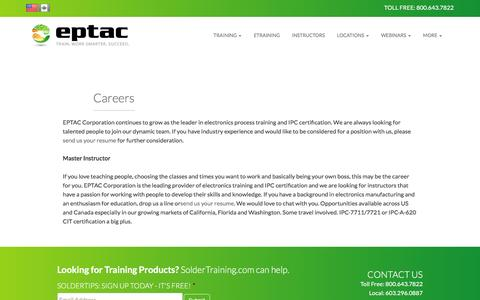 Screenshot of Jobs Page eptac.com - Careers | EPTAC - captured July 9, 2016