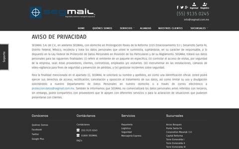 Screenshot of Privacy Page segmail.com.mx - Segmail - captured Oct. 9, 2014
