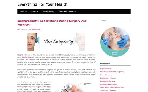 Blepharoplasty: Expectations During Surgery And Recovery – Everything For Your Health