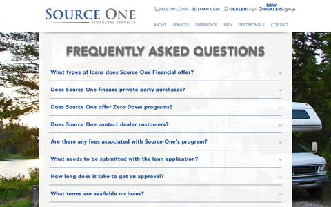 Screenshot of FAQ Page source1financial.com - SourceOne | FAQs - captured Nov. 9, 2018