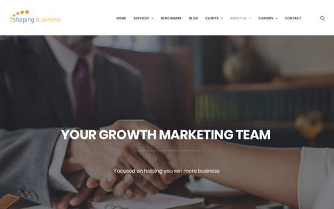 Screenshot of About Page shapingbusiness.com - Shaping Business | Growth Marketing Agency | B2B Marketing | - captured Nov. 16, 2018