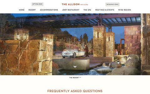 Screenshot of FAQ Page theallison.com - Frequently Asked Questions   The Allison Inn and Spa   Newberg Oregon - captured Sept. 22, 2018