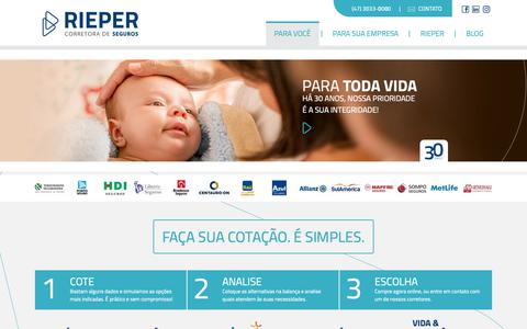 Screenshot of Home Page rieper.com.br - Rieper - Corretora de Seguros - Joinville / SC - captured Oct. 18, 2018
