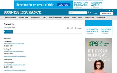 Screenshot of Contact Page Support Page businessinsurance.com - Contact Us | Business Insurance - captured Nov. 13, 2019