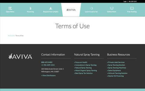 Screenshot of Terms Page avivalabs.com - Terms of Use - Aviva Labs - captured Oct. 9, 2017