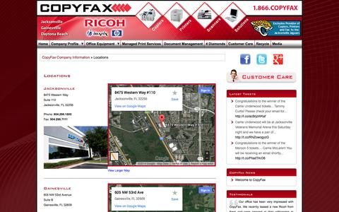Screenshot of Locations Page copyfax.com - CopyFax - Printers, Copiers, Scanners, Document Solutions and Managed Print Services, Jacksonville, Florida - captured Sept. 30, 2014