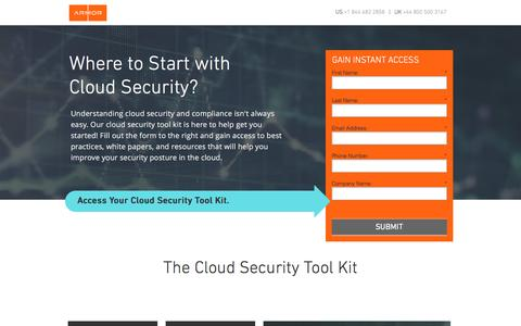 Screenshot of Landing Page armor.com - Cloud Security Tool Kit - captured April 3, 2017