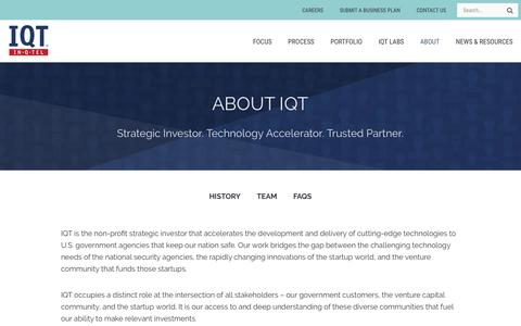 Screenshot of About Page iqt.org - Accelerating development and delivery of cutting-edge technologies - About IQT - captured Nov. 27, 2016
