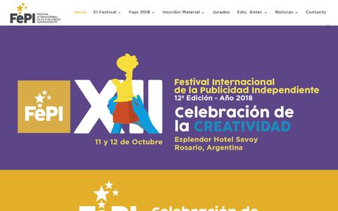 Screenshot of fepi.com.ar - FePI | Primer Festival Internacional de la Publicidad Independiente - captured Oct. 10, 2018