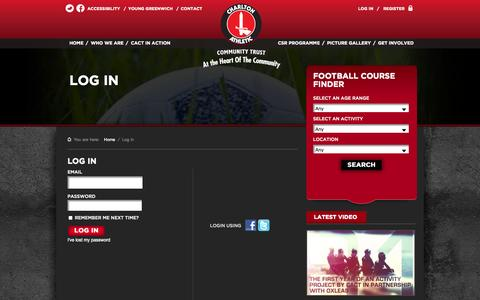 Screenshot of Login Page cact.org.uk - Log in » Charlton Athletic Community Trust - captured Oct. 2, 2014