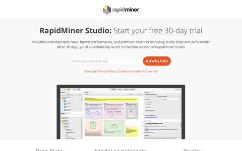 Screenshot of Signup Page rapidminer.com - Download Rapidminer Studio | RapidMiner - captured Sept. 8, 2018