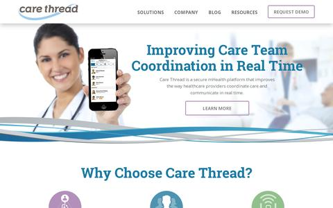 Screenshot of Home Page carethread.com - HIPAA-Compliant mHealth Platform | Care Thread - captured July 11, 2014