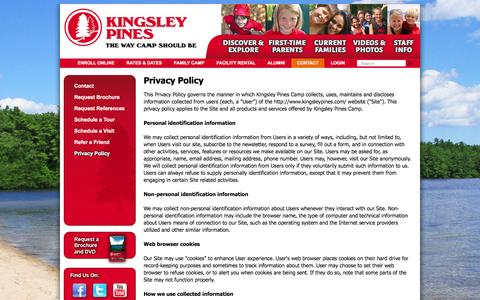 Screenshot of Privacy Page kingsleypines.com - Privacy Policy |  Kingsley Pines Camp - captured Feb. 12, 2016
