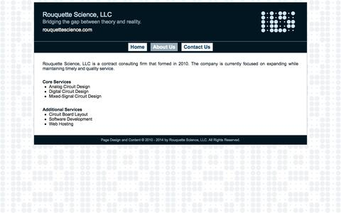 Screenshot of About Page rouquettescience.com - Rouquette Science, LLC - captured Oct. 1, 2014