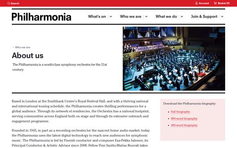 Screenshot of About Page philharmonia.co.uk - About us | Philharmonia - captured Feb. 24, 2020