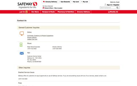 Screenshot of Contact Page safeway.com - Safeway - Contact-Us - captured March 30, 2016