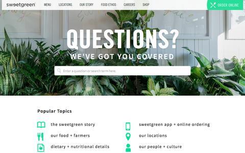 Screenshot of FAQ Page sweetgreen.com - faqs | sweetgreen - captured Sept. 21, 2016
