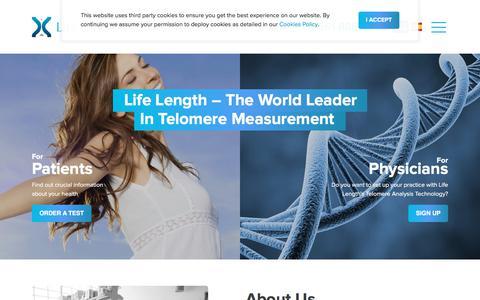 Screenshot of Home Page lifelength.com - Telomere Length & Biological Age Testing, Telomere Shortening | Life Length - captured July 19, 2018