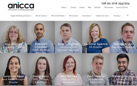 Screenshot of Team Page anicca.co.uk - Meet The Anicca Digital Team | Anicca Digital - captured Jan. 17, 2016