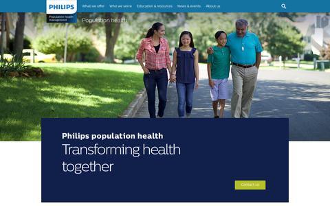 Screenshot of Home Page wellcentive.com - Population health - Philips Wellcentive - captured Sept. 11, 2018