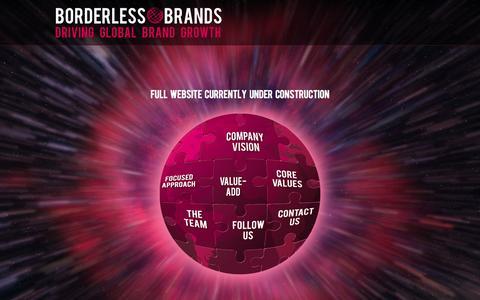 Screenshot of Home Page borderlessbrands.com - Borderless Brands - Driving Global Brand Growth - captured Oct. 5, 2014