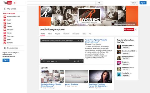 Screenshot of YouTube Page youtube.com - revolutionagencycom  - YouTube - captured Oct. 26, 2014