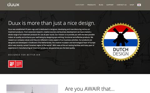 Screenshot of About Page duux.com - About | Duux | Designed for better air. - captured Oct. 9, 2018