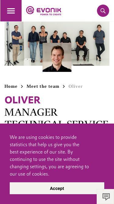 Screenshot of Team Page  evonik.com - Oliver                                                                - Evonik Careers