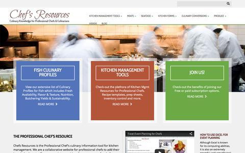 Screenshot of Home Page chefs-resources.com - Culinary Information - Chefs Resources - captured Jan. 29, 2016