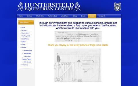Screenshot of Testimonials Page huntersfieldec.com - Testimonials - captured Oct. 3, 2014